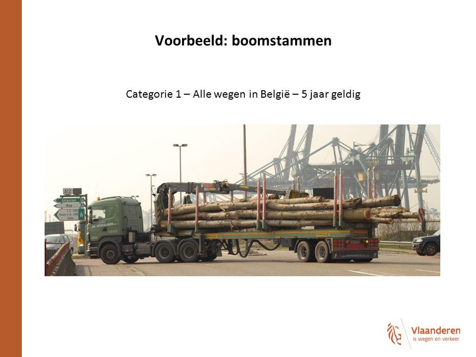 Voorbeeld: boomstammen Categorie 1 – Alle wegen in België – 5 jaar geldig