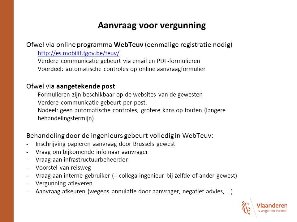 Aanvraag voor vergunning Ofwel via online programma WebTeuv (eenmalige registratie nodig) http://es.mobilit.fgov.be/teuv/ Verdere communicatie gebeurt