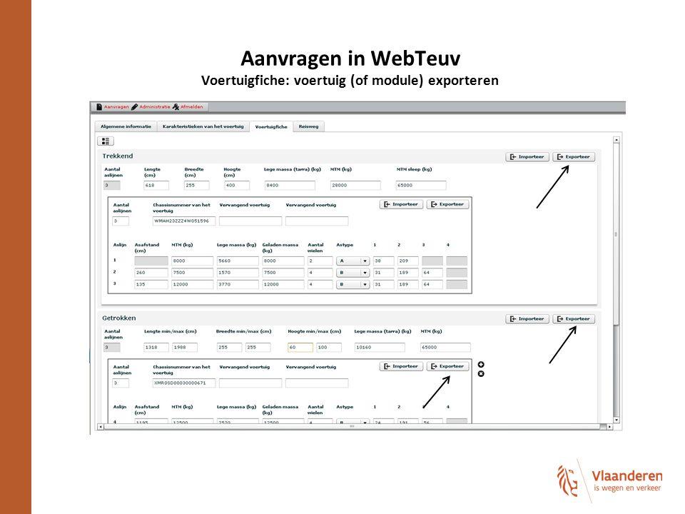 Aanvragen in WebTeuv Voertuigfiche: voertuig (of module) exporteren