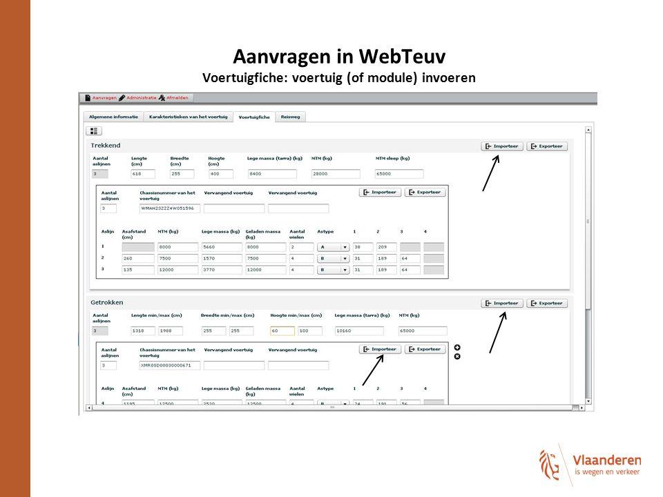 Aanvragen in WebTeuv Voertuigfiche: voertuig (of module) invoeren
