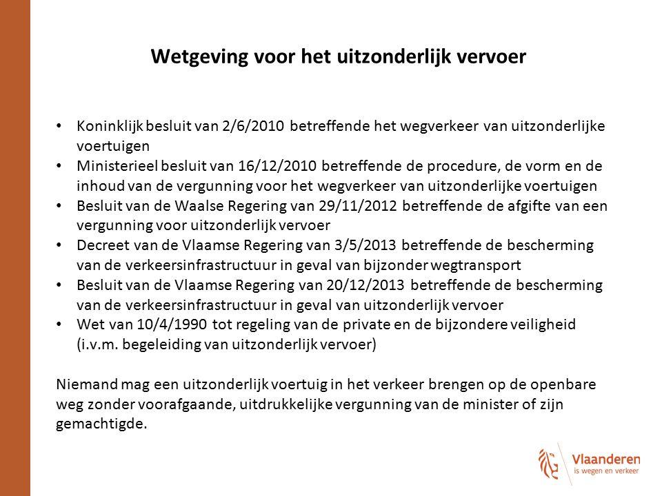 Wetgeving voor het uitzonderlijk vervoer Koninklijk besluit van 2/6/2010 betreffende het wegverkeer van uitzonderlijke voertuigen Ministerieel besluit
