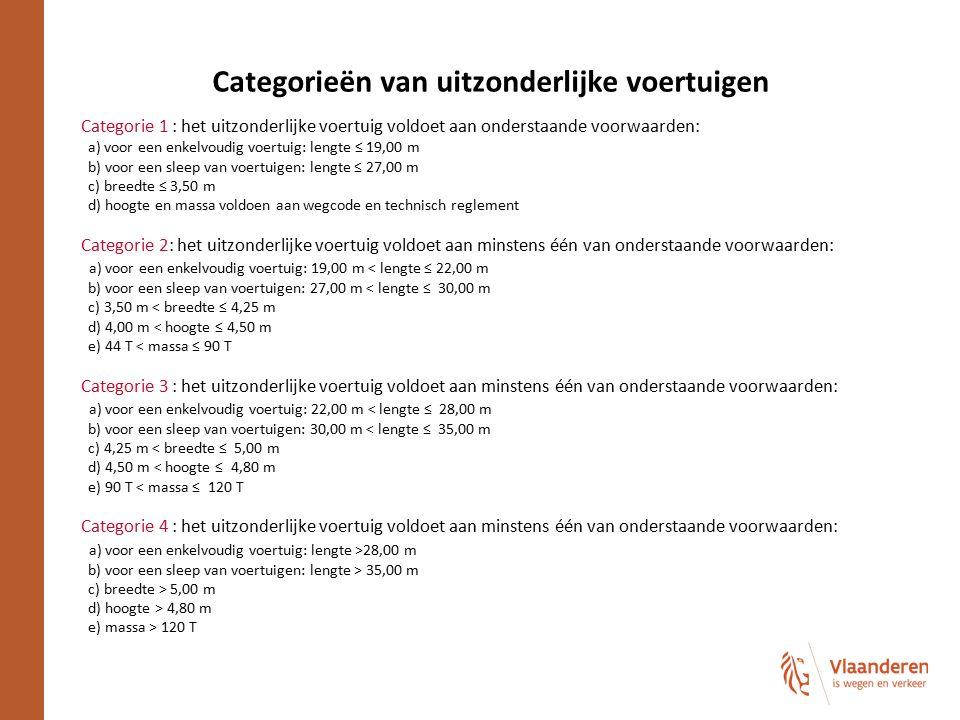 Categorieën van uitzonderlijke voertuigen Categorie 1 : het uitzonderlijke voertuig voldoet aan onderstaande voorwaarden: a) voor een enkelvoudig voer