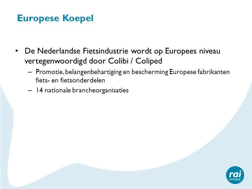 Europese Koepel De Nederlandse Fietsindustrie wordt op Europees niveau vertegenwoordigd door Colibi / Coliped – Promotie, belangenbehartiging en bescherming Europese fabrikanten fiets- en fietsonderdelen – 14 nationale brancheorganisaties
