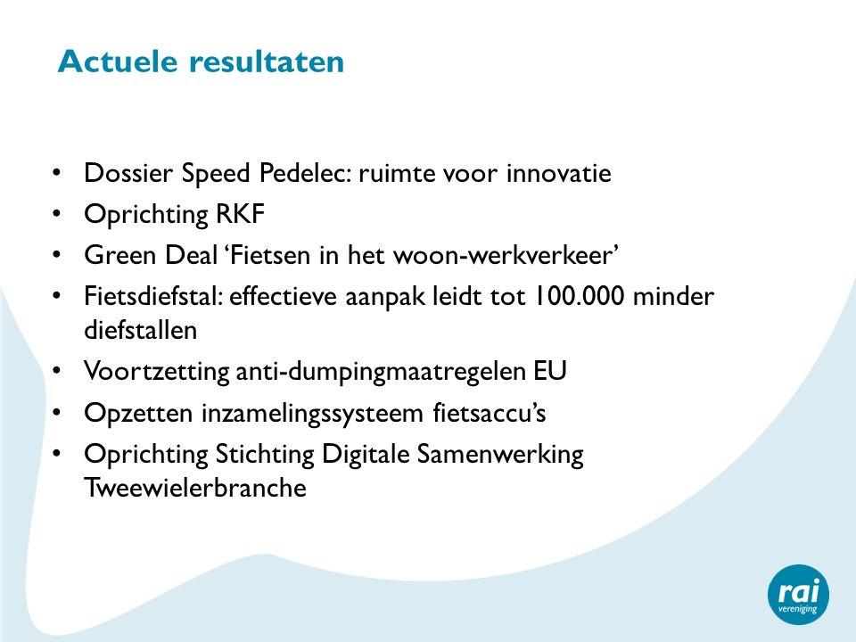 Actuele resultaten Dossier Speed Pedelec: ruimte voor innovatie Oprichting RKF Green Deal 'Fietsen in het woon-werkverkeer' Fietsdiefstal: effectieve
