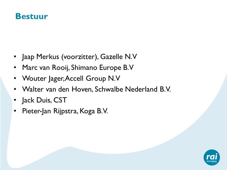 Bestuur Jaap Merkus (voorzitter), Gazelle N.V Marc van Rooij, Shimano Europe B.V Wouter Jager, Accell Group N.V Walter van den Hoven, Schwalbe Nederla