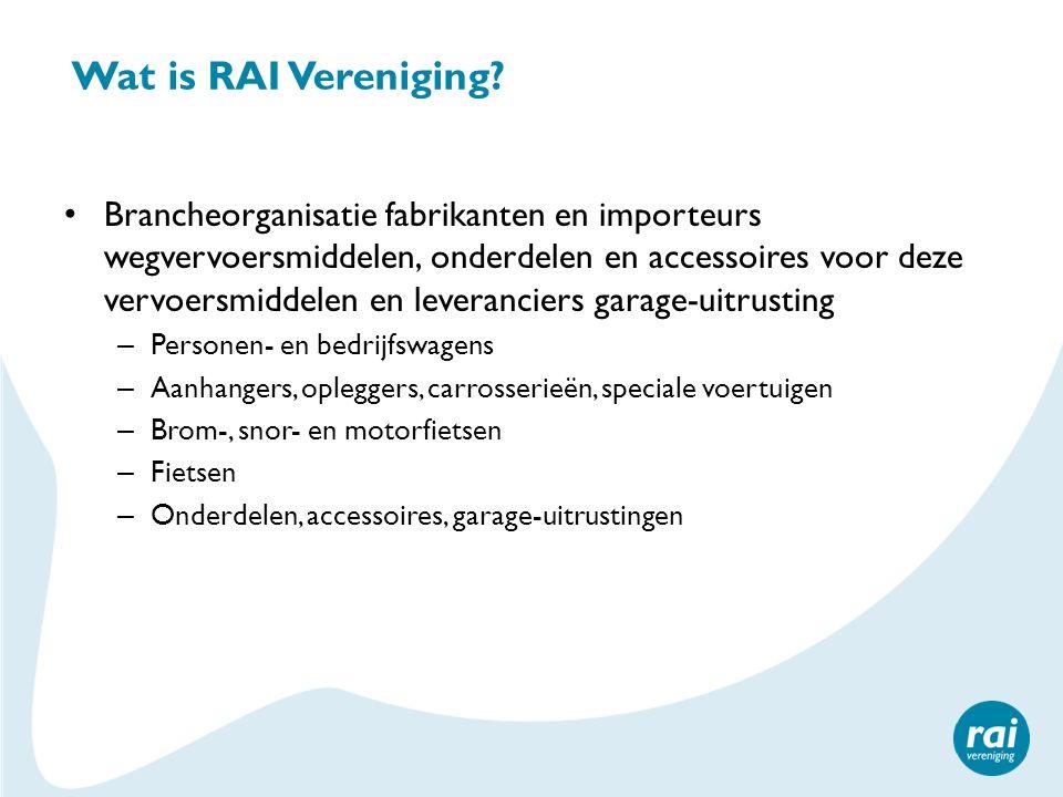 Wat is RAI Vereniging (2) Oprichter en mede-eigenaar Amsterdam RAI Aandeelhouder Autorecycling Nederland Oprichter en mede-eigenaar RDC