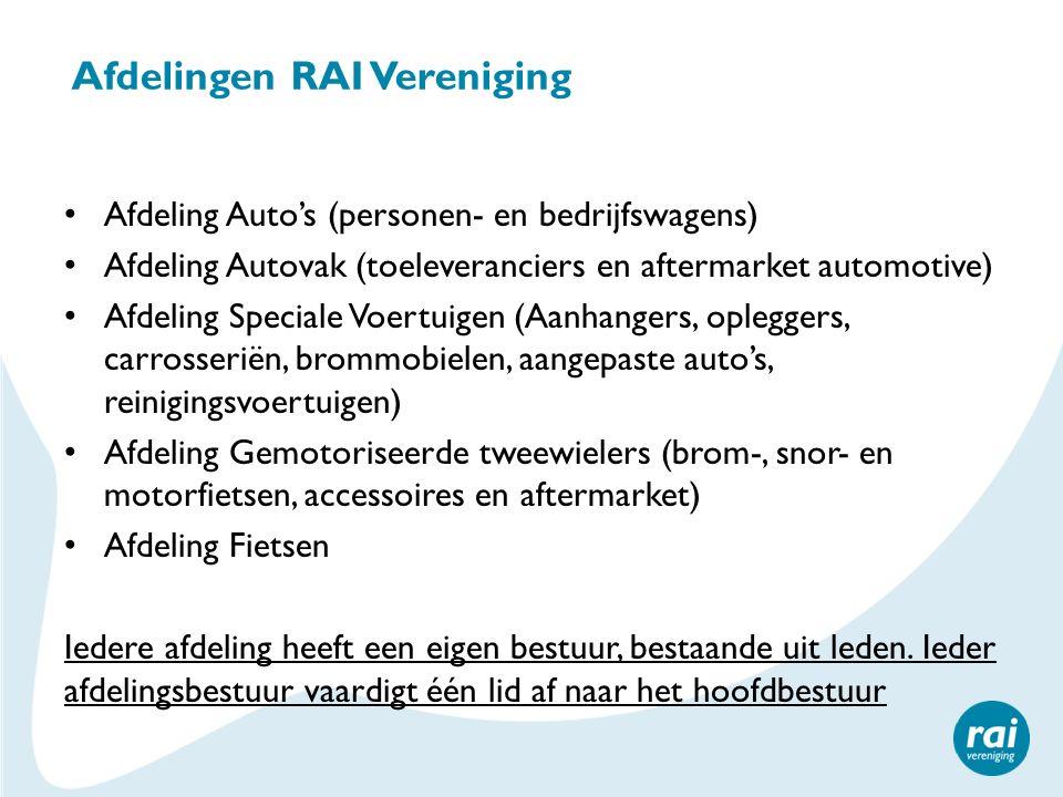 Afdelingen RAI Vereniging Afdeling Auto's (personen- en bedrijfswagens) Afdeling Autovak (toeleveranciers en aftermarket automotive) Afdeling Speciale Voertuigen (Aanhangers, opleggers, carrosseriën, brommobielen, aangepaste auto's, reinigingsvoertuigen) Afdeling Gemotoriseerde tweewielers (brom-, snor- en motorfietsen, accessoires en aftermarket) Afdeling Fietsen Iedere afdeling heeft een eigen bestuur, bestaande uit leden.