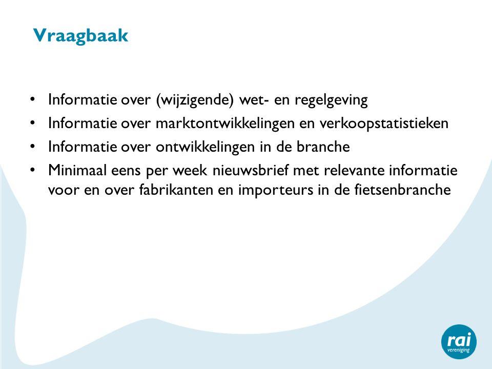 Vraagbaak Informatie over (wijzigende) wet- en regelgeving Informatie over marktontwikkelingen en verkoopstatistieken Informatie over ontwikkelingen i