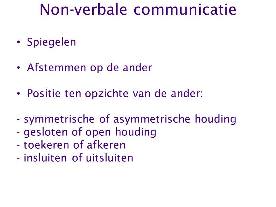 Non-verbale communicatie Spiegelen Afstemmen op de ander Positie ten opzichte van de ander: - symmetrische of asymmetrische houding - gesloten of open