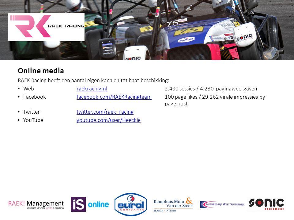 Online media RAEK Racing heeft een aantal eigen kanalen tot haat beschikking: Webraekracing.nl2.400 sessies / 4.230 paginaweergavenraekracing.nl Faceb