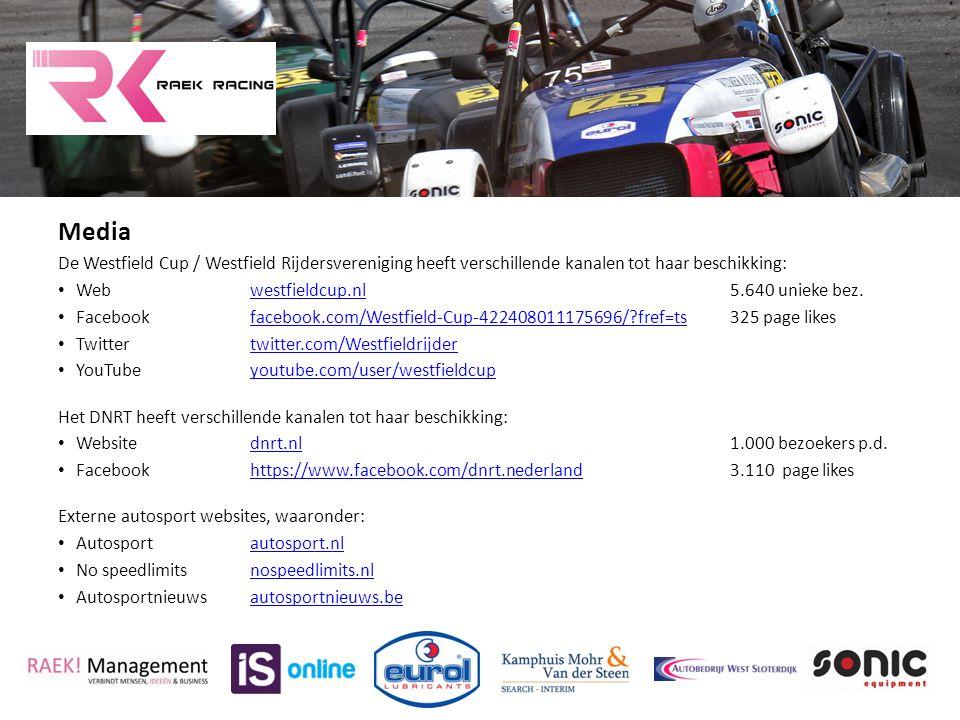 Media De Westfield Cup / Westfield Rijdersvereniging heeft verschillende kanalen tot haar beschikking: Webwestfieldcup.nl5.640 unieke bez.westfieldcup