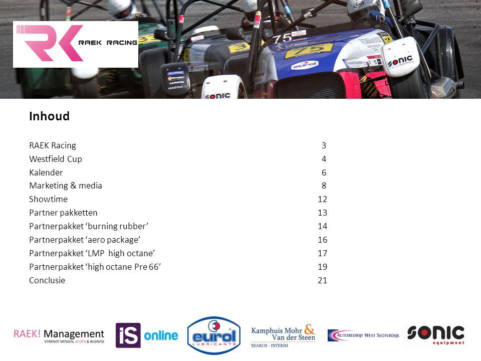 Inhoud RAEK Racing 3 Westfield Cup 4 Kalender 6 Marketing & media 8 Showtime12 Partner pakketten13 Partnerpakket 'burning rubber' 14 Partnerpakket 'ae