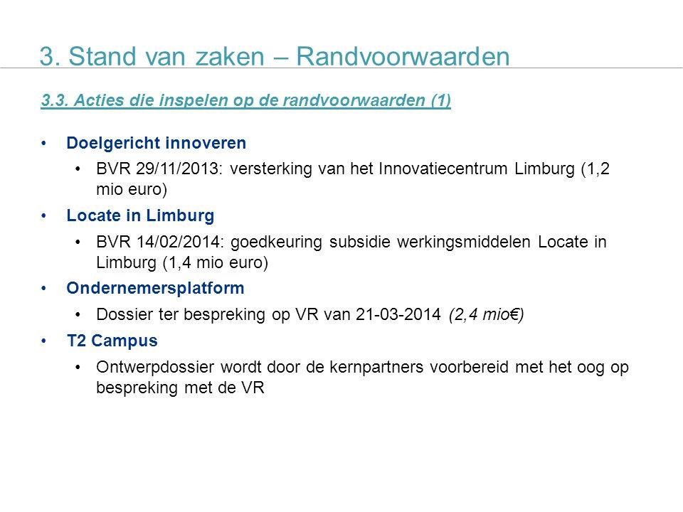 SALK actieplan 10 3.3. Acties die inspelen op de randvoorwaarden (1) Doelgericht innoveren BVR 29/11/2013: versterking van het Innovatiecentrum Limbur
