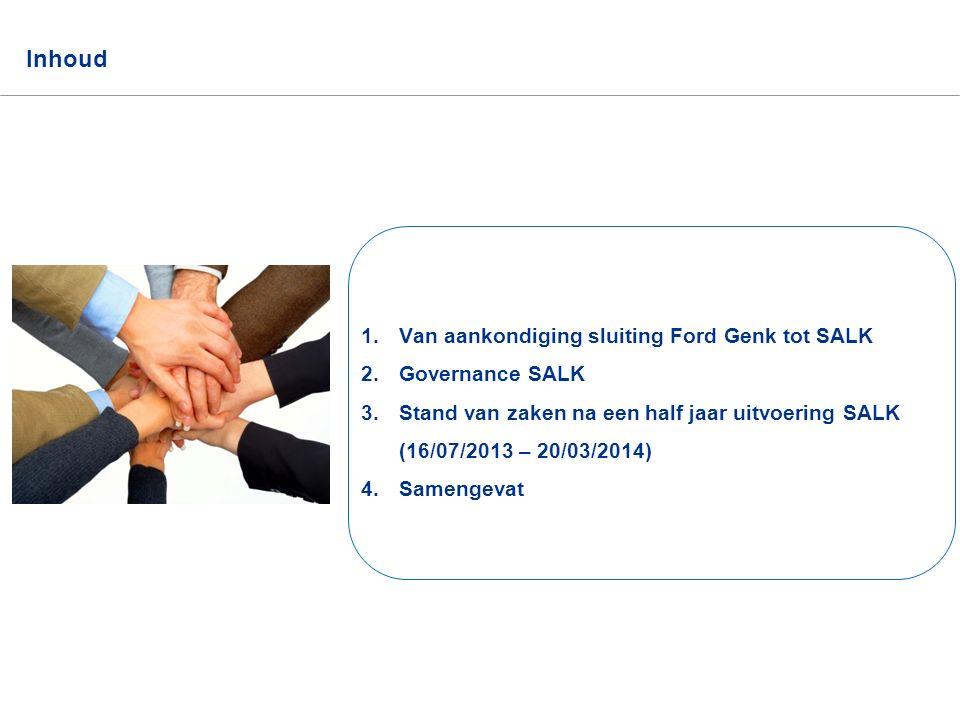 SALK actieplan 2 Inhoud 1.Van aankondiging sluiting Ford Genk tot SALK 2.Governance SALK 3.Stand van zaken na een half jaar uitvoering SALK (16/07/201