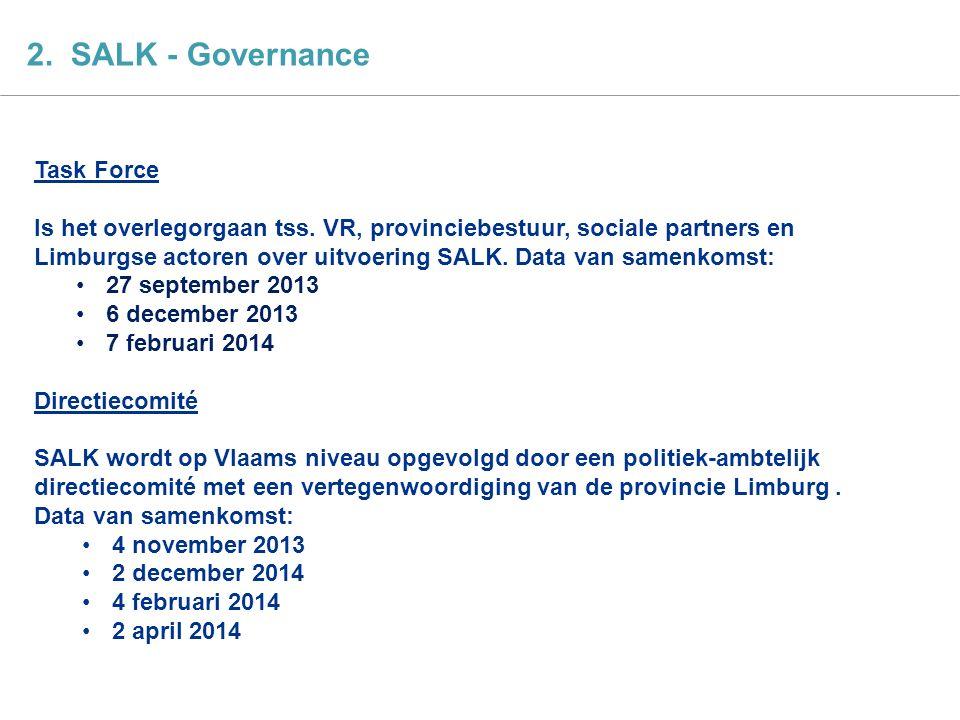 SALK actieplan 4 2. SALK - Governance Task Force Is het overlegorgaan tss. VR, provinciebestuur, sociale partners en Limburgse actoren over uitvoering