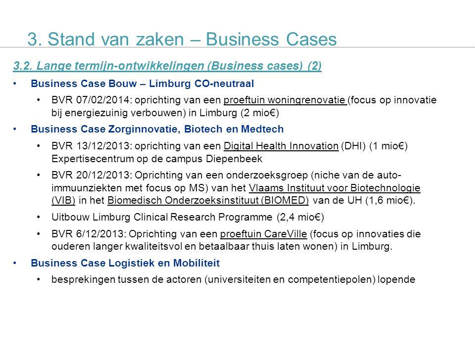 SALK actieplan 9 3.2. Lange termijn-ontwikkelingen (Business cases) (2) Business Case Bouw – Limburg CO-neutraal BVR 07/02/2014: oprichting van een pr