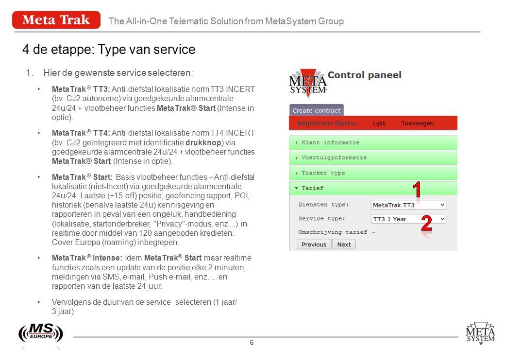 The All-in-One Telematic Solution from MetaSystem Group 7 5 de etappe: Samenvatting 1.Deze pagina herneemt alle gecodeerde informatie.