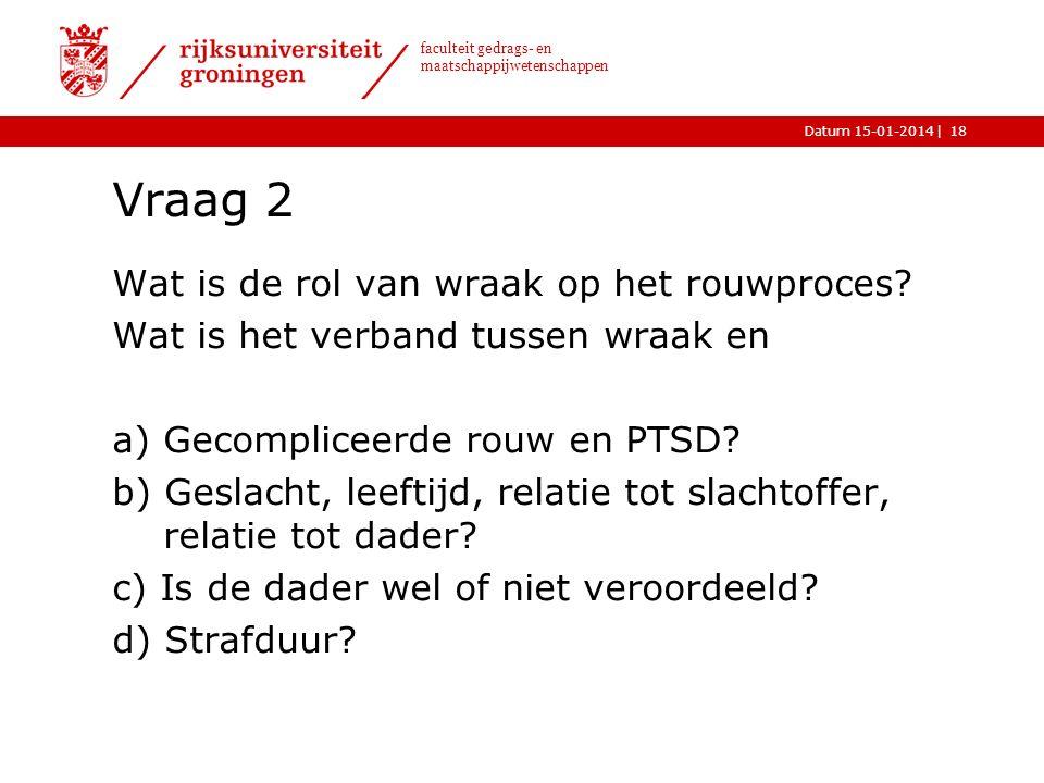 |Datum 15-01-2014 faculteit gedrags- en maatschappijwetenschappen Vraag 2 Wat is de rol van wraak op het rouwproces.