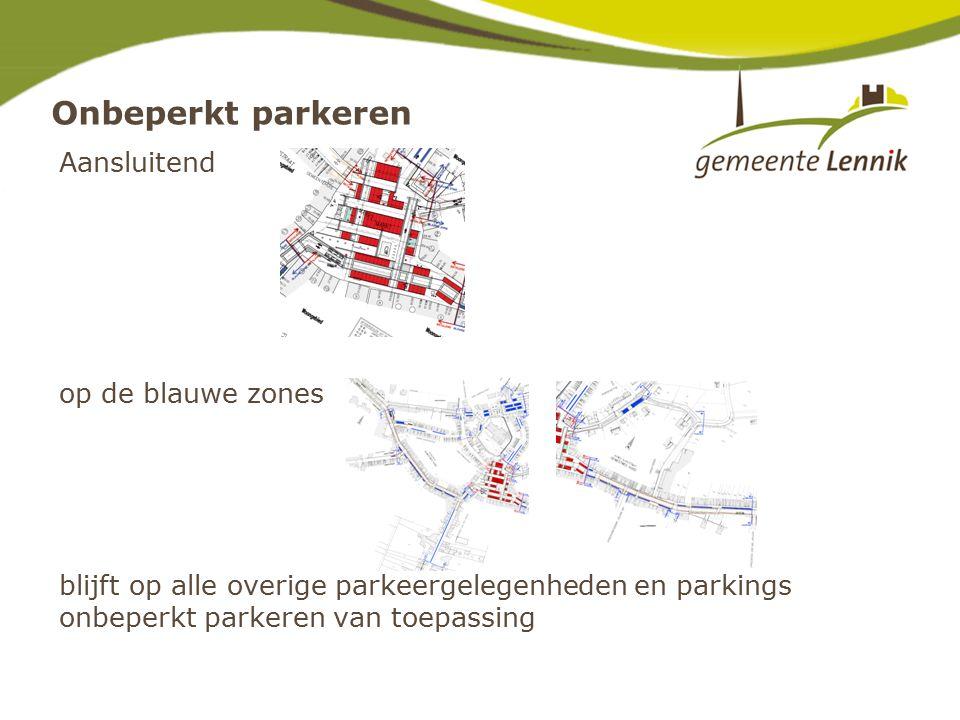 Onbeperkt parkeren Aansluitend op de blauwe zones blijft op alle overige parkeergelegenheden en parkings onbeperkt parkeren van toepassing