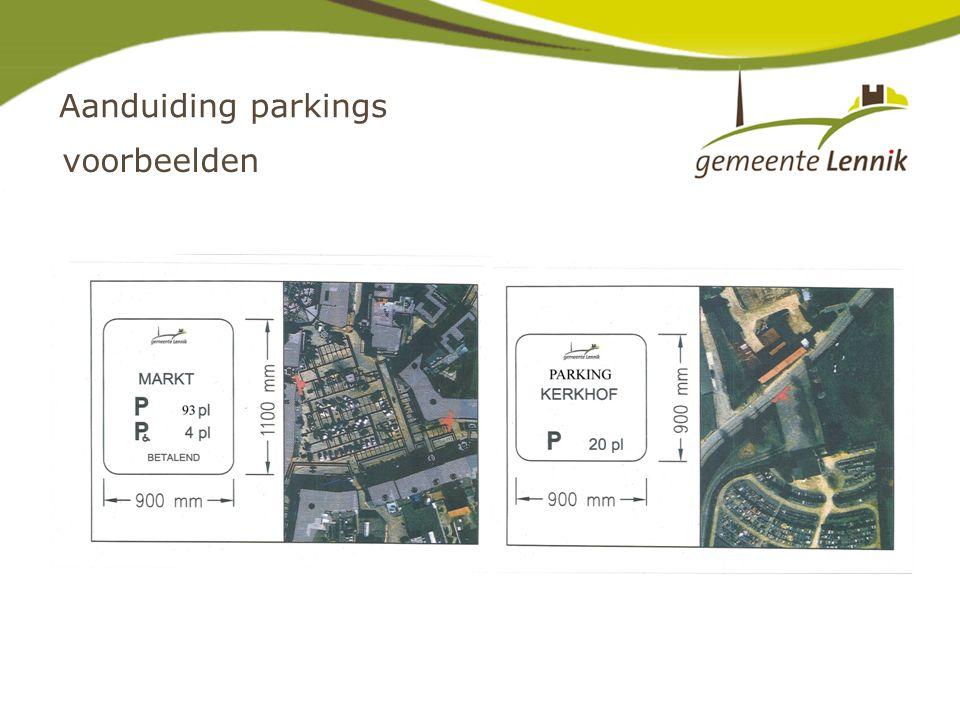 Aanduiding parkings voorbeelden