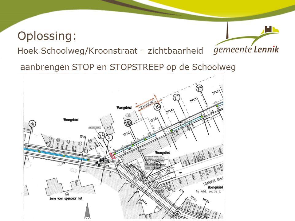 Oplossing: Hoek Schoolweg/Kroonstraat – zichtbaarheid aanbrengen STOP en STOPSTREEP op de Schoolweg