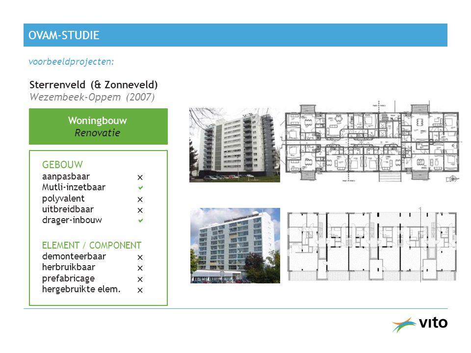 Sterrenveld (& Zonneveld) Wezembeek-Oppem (2007) Woningbouw Renovatie GEBOUW aanpasbaar  Mutli-inzetbaar  polyvalent  uitbreidbaar  drager-inbouw  ELEMENT / COMPONENT demonteerbaar  herbruikbaar  prefabricage  hergebruikte elem.