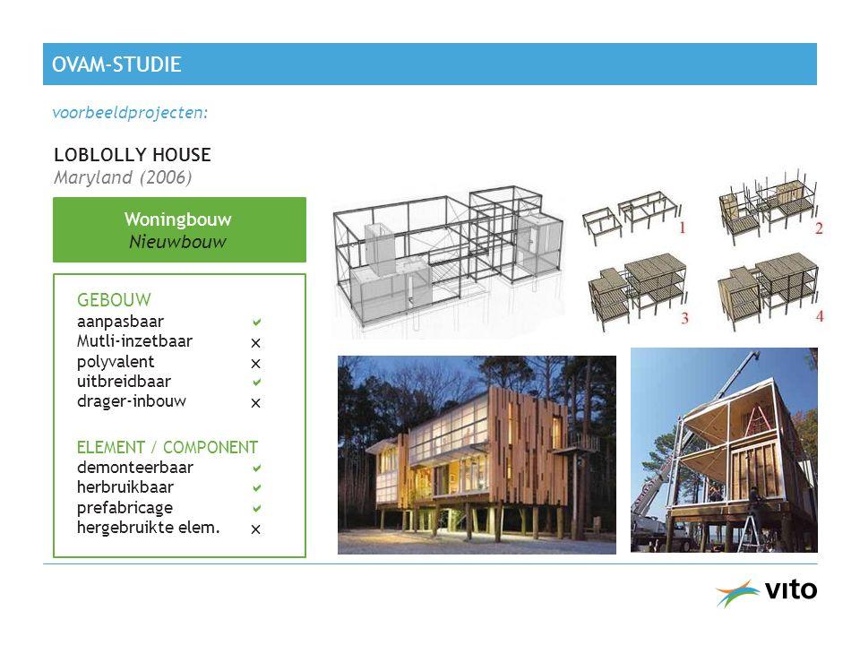 OVAM-STUDIE LOBLOLLY HOUSE Maryland (2006) Woningbouw Nieuwbouw GEBOUW aanpasbaar  Mutli-inzetbaar  polyvalent  uitbreidbaar  drager-inbouw  ELEMENT / COMPONENT demonteerbaar  herbruikbaar  prefabricage  hergebruikte elem.