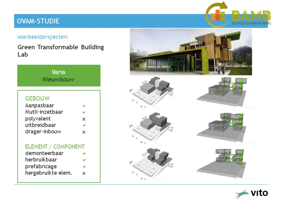Green Transformable Building Lab Varia Nieuwbouw GEBOUW Aanpasbaar  Mutli-inzetbaar  polyvalent  uitbreidbaar  drager-inbouw  ELEMENT / COMPONENT demonteerbaar  herbruikbaar  prefabricage  hergebruikte elem.