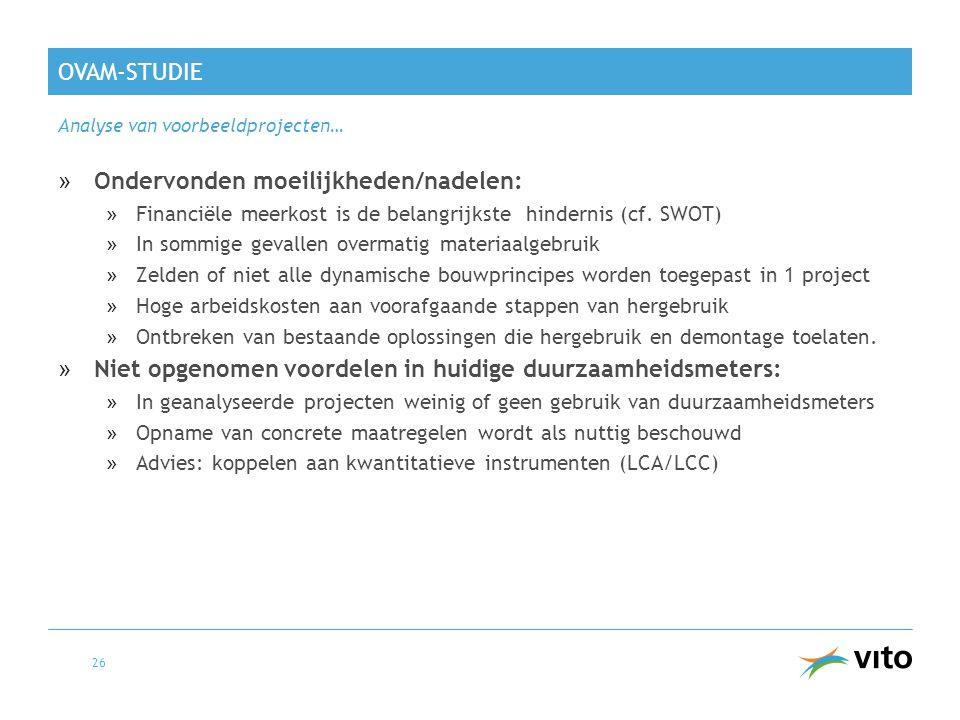 OVAM-STUDIE Analyse van voorbeeldprojecten… 26 »Ondervonden moeilijkheden/nadelen: »Financiële meerkost is de belangrijkste hindernis (cf. SWOT) »In s