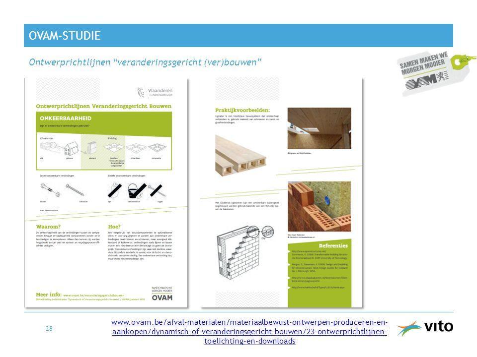OVAM-STUDIE 28 www.ovam.be/afval-materialen/materiaalbewust-ontwerpen-produceren-en- aankopen/dynamisch-of-veranderingsgericht-bouwen/23-ontwerprichtl