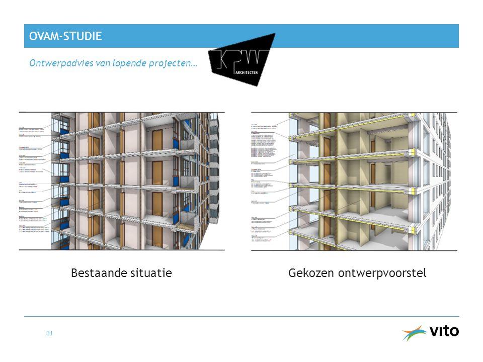 OVAM-STUDIE Ontwerpadvies van lopende projecten… 31 Bestaande situatieGekozen ontwerpvoorstel