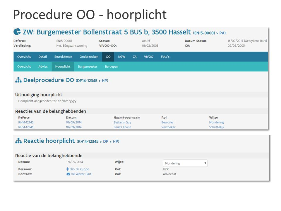 Procedure OO - hoorplicht