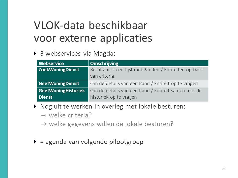 VLOK-data beschikbaar voor externe applicaties 54 3 webservices via Magda: Nog uit te werken in overleg met lokale besturen: welke criteria.