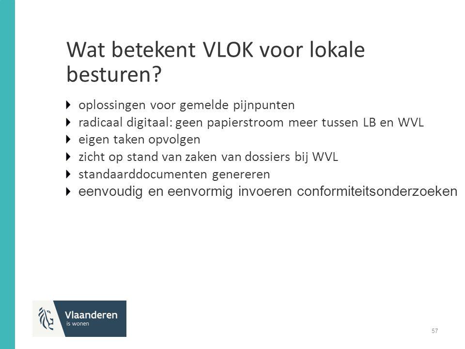 oplossingen voor gemelde pijnpunten radicaal digitaal: geen papierstroom meer tussen LB en WVL eigen taken opvolgen zicht op stand van zaken van dossiers bij WVL standaarddocumenten genereren eenvoudig en eenvormig invoeren conformiteitsonderzoeken Wat betekent VLOK voor lokale besturen.