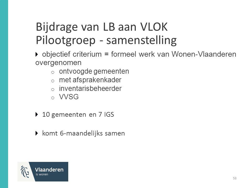objectief criterium = formeel werk van Wonen-Vlaanderen overgenomen o ontvoogde gemeenten o met afsprakenkader o inventarisbeheerder o VVSG 10 gemeenten en 7 IGS komt 6-maandelijks samen Bijdrage van LB aan VLOK Pilootgroep - samenstelling 58
