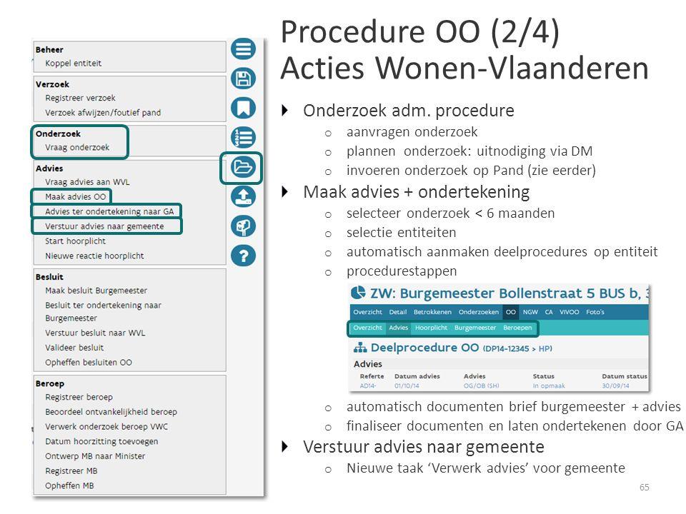 Procedure OO (2/4) Acties Wonen-Vlaanderen 65 Onderzoek adm.