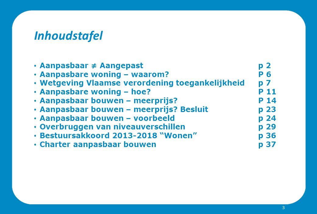 Inhoudstafel Aanpasbaar ≠ Aangepast p 2 Aanpasbare woning – waarom?P 6 Wetgeving Vlaamse verordening toegankelijkheidp 7 Aanpasbare woning – hoe.