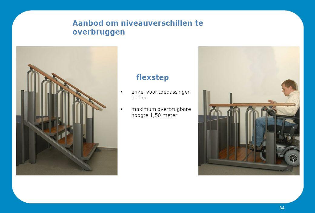 Aanbod om niveauverschillen te overbruggen flexstep enkel voor toepassingen binnen maximum overbrugbare hoogte 1,50 meter 34
