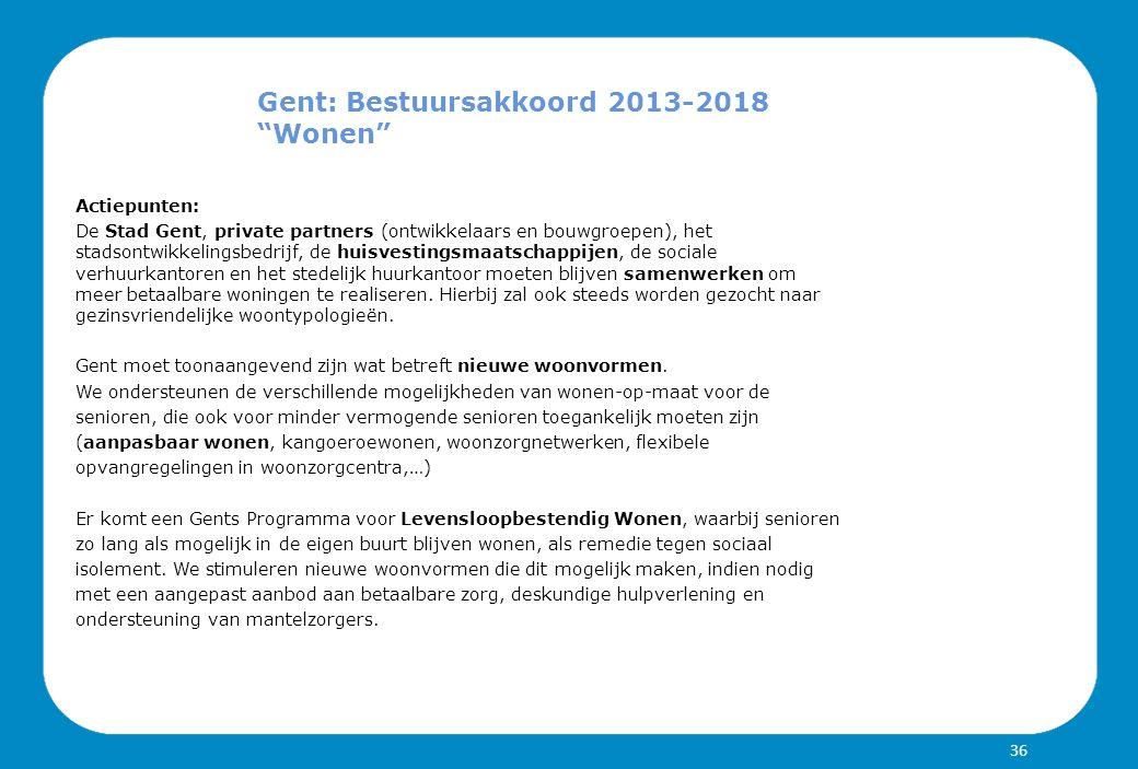 Gent: Bestuursakkoord 2013-2018 Wonen Actiepunten: De Stad Gent, private partners (ontwikkelaars en bouwgroepen), het stadsontwikkelingsbedrijf, de huisvestingsmaatschappijen, de sociale verhuurkantoren en het stedelijk huurkantoor moeten blijven samenwerken om meer betaalbare woningen te realiseren.