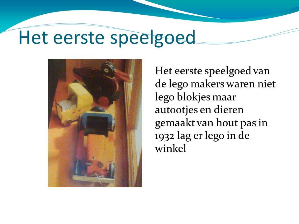 Het eerste speelgoed Het eerste speelgoed van de lego makers waren niet lego blokjes maar autootjes en dieren gemaakt van hout pas in 1932 lag er lego