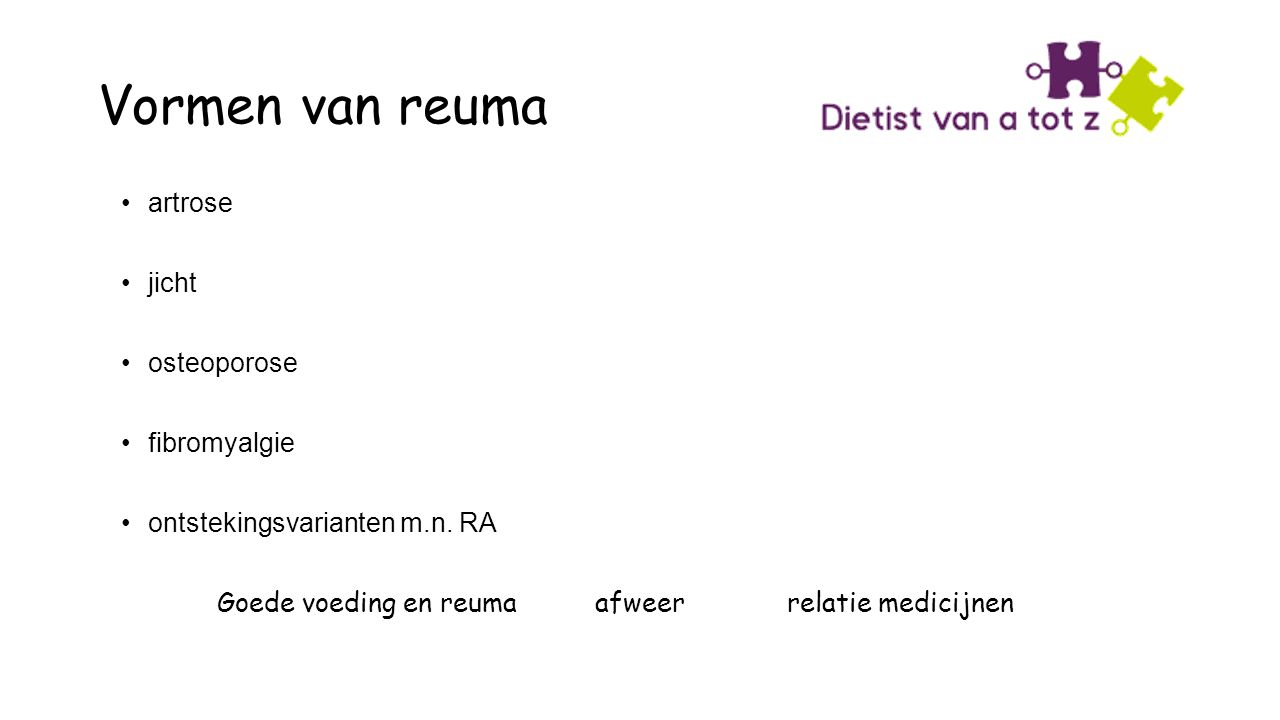 Vormen van reuma artrose jicht osteoporose fibromyalgie ontstekingsvarianten m.n.