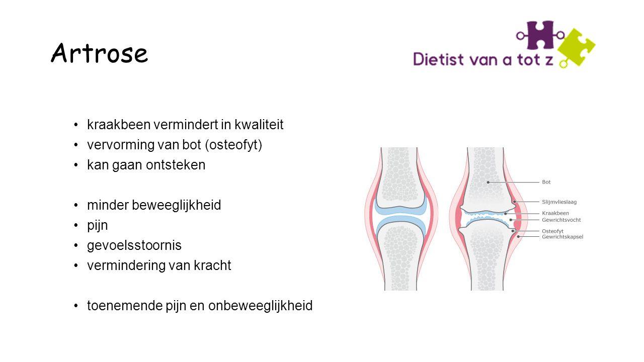 Artrose kraakbeen vermindert in kwaliteit vervorming van bot (osteofyt) kan gaan ontsteken minder beweeglijkheid pijn gevoelsstoornis vermindering van kracht toenemende pijn en onbeweeglijkheid