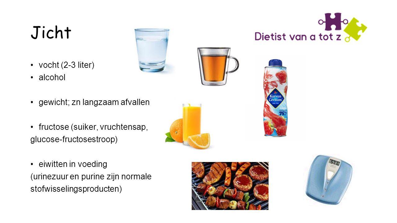 Jicht vocht (2-3 liter) alcohol gewicht; zn langzaam afvallen fructose (suiker, vruchtensap, glucose-fructosestroop) eiwitten in voeding (urinezuur en