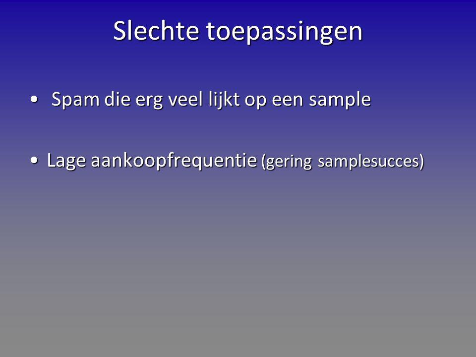 Slechte toepassingen Spam die erg veel lijkt op een sample Spam die erg veel lijkt op een sample Lage aankoopfrequentie (gering samplesucces)Lage aankoopfrequentie (gering samplesucces)