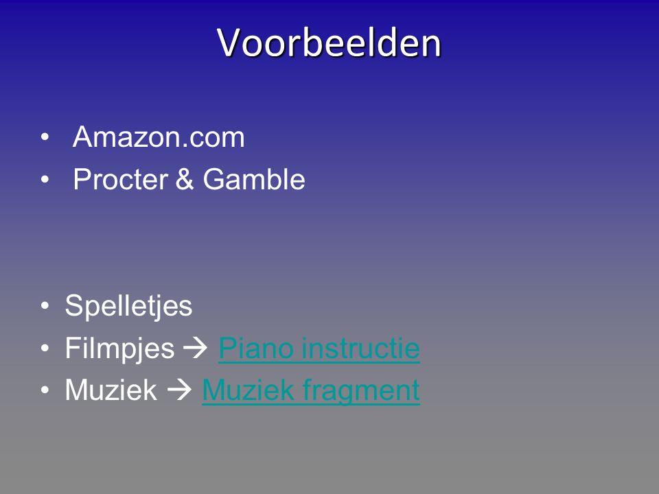 Voorbeelden Amazon.com Procter & Gamble Spelletjes Filmpjes  Piano instructiePiano instructie Muziek  Muziek fragmentMuziek fragment