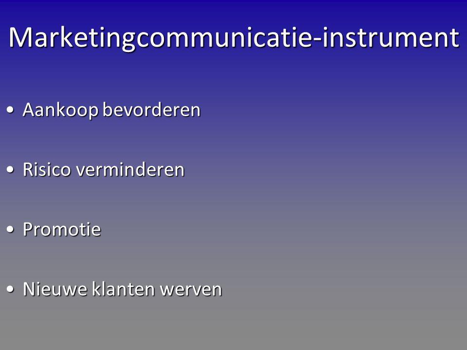 Marketingcommunicatie-instrument Aankoop bevorderenAankoop bevorderen Risico verminderenRisico verminderen PromotiePromotie Nieuwe klanten wervenNieuwe klanten werven