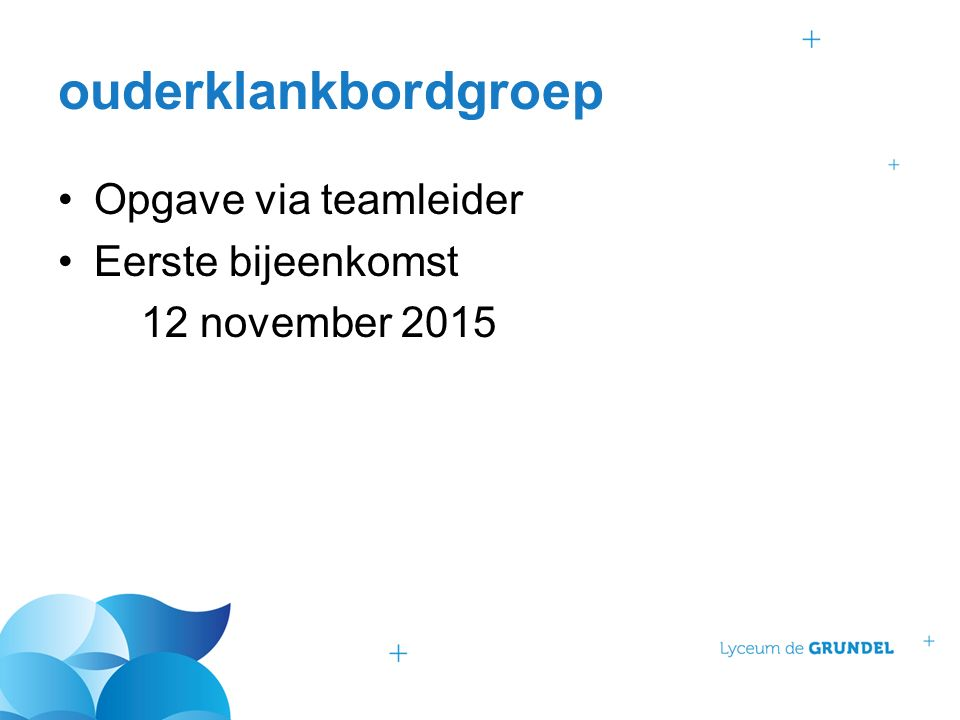 ouderklankbordgroep Opgave via teamleider Eerste bijeenkomst 12 november 2015