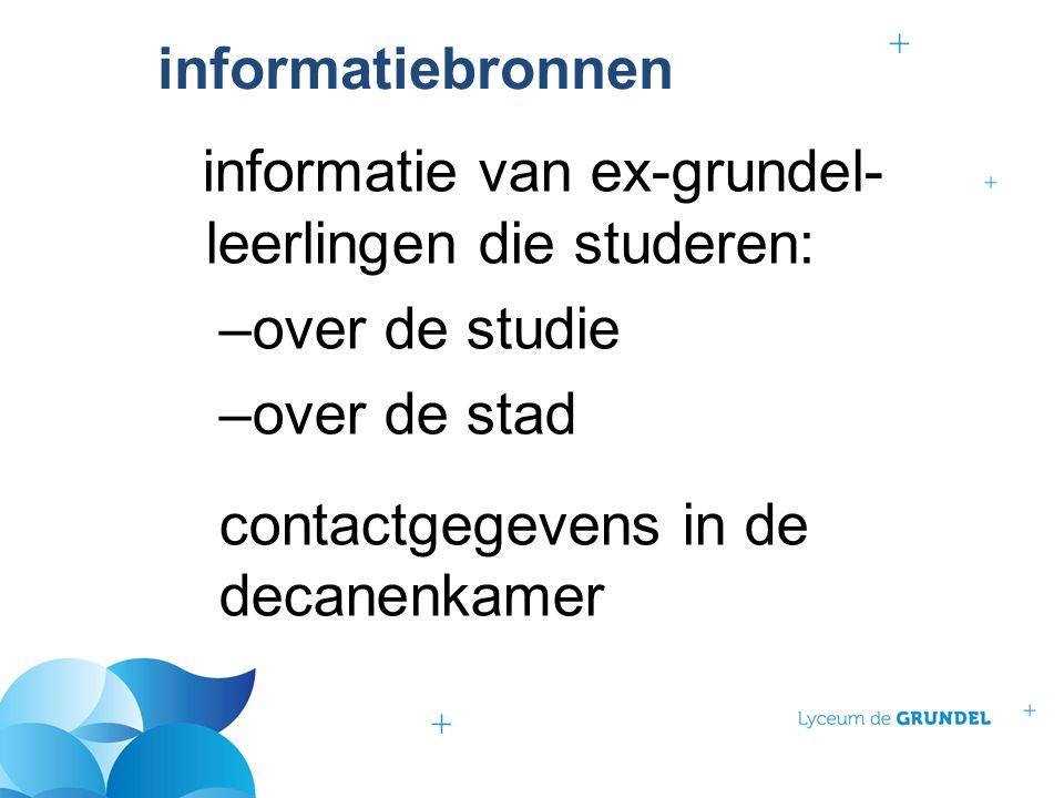 informatiebronnen informatie van ex-grundel- leerlingen die studeren: –over de studie –over de stad contactgegevens in de decanenkamer