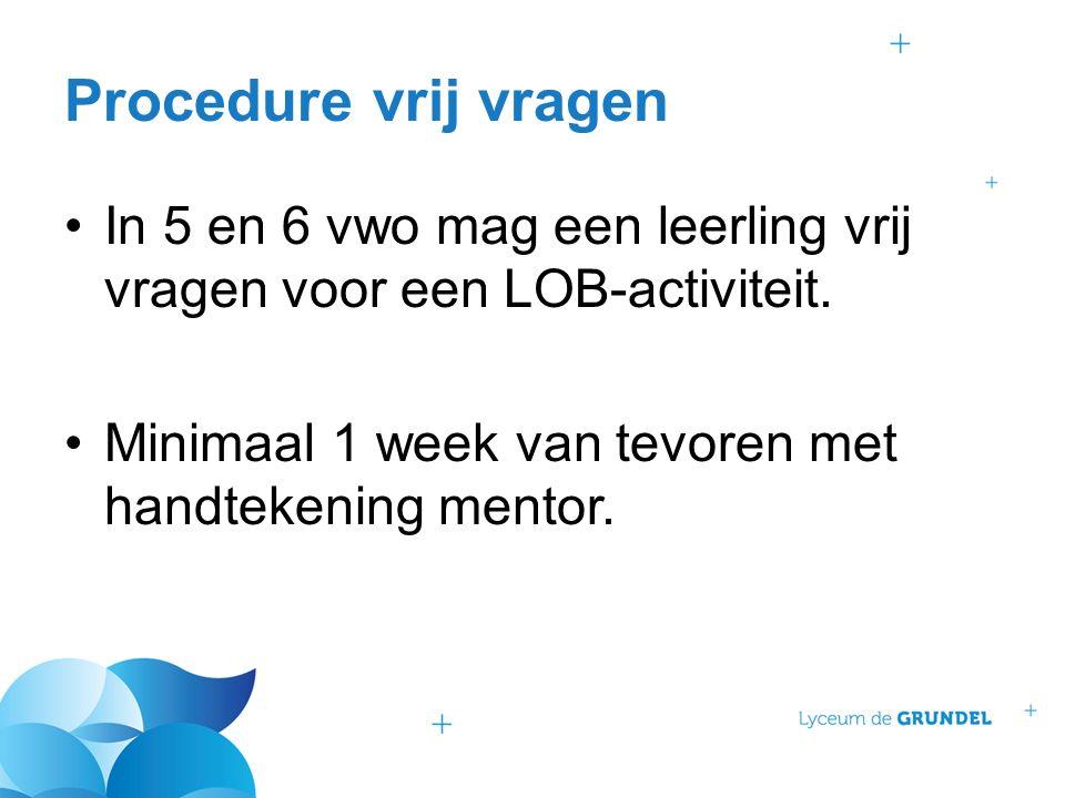 Procedure vrij vragen In 5 en 6 vwo mag een leerling vrij vragen voor een LOB-activiteit.