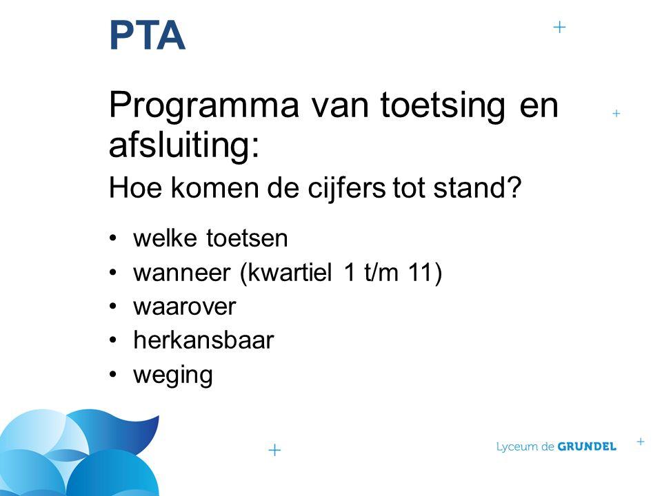 PTA Programma van toetsing en afsluiting: Hoe komen de cijfers tot stand.